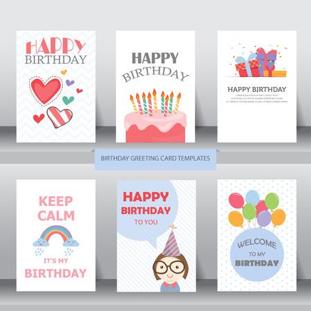urodziny: urodziny, święto, Boże Narodzenie pozdrowienia i zaproszenie karty. istnieją balony, pudełka, konfetti, cup cake. ilustracji wektorowych