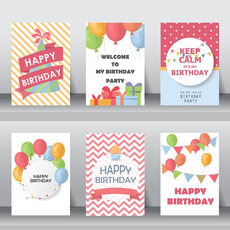 gateau anniversaire: anniversaire, vacances, salutation de noël et de la carte d'invitation. il y a des ballons, des boîtes-cadeaux, des confettis, cup cake. illustration vectorielle