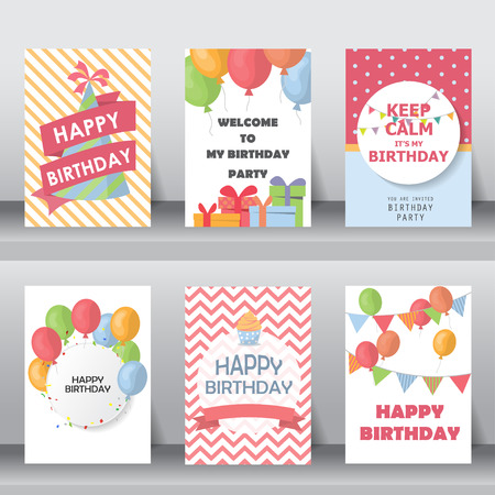 birthday, holiday, christmas greeting and invitation card.  there are balloons, gift boxes, confetti, cup cake. vector illustration Ilustracja