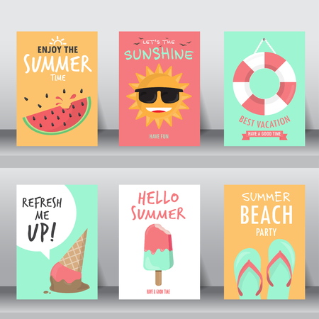 summer, holiday, vacation poster set. can be use for greeting and invitation card.  background , backdrop. flat design. vector illustration