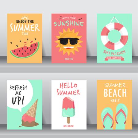 verano, vacaciones, establece cartel de vacaciones. puede ser el uso de tarjetas de felicitación y tarjeta de invitación. fondo, telón de fondo. diseño plano. ilustración vectorial Ilustración de vector
