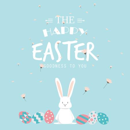 Fröhliche Ostern. niedlichen Häschen-Ohren mit Eiern und Text-Logo auf süßen blauen Hintergrund, kann für Grußkarte sein kann Text hinzugefügt werden. Vektor-Illustration