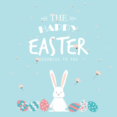 Happy easter day. cute bunny Ears with eggs and text  logo on sweet blue background, can be use for greeting card, text can be added.  vector illustration Ilustracja