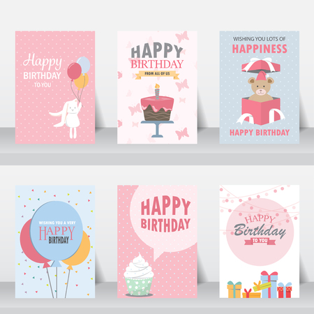 birthday, holiday, christmas greeting and invitation card.  there are balloons, gift boxes, confetti, cup cake. vector illustration Çizim