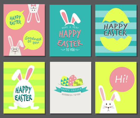Happy easter day. cute bunny Ears with eggs and text  logo on sweet blue background, can be use for greeting card, text can be added.  vector illustration Illustration
