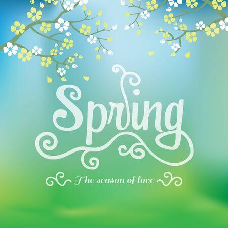 primavera: temporada de primavera de fondo el amor y el telón de fondo, se puede utilizar para la tarjeta de compras de negocios, diseño, bandera, diseño de páginas web. vector