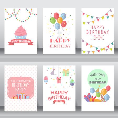 feliz: feliz cumpleaños, fiesta, saludo de Navidad y la tarjeta de invitación. existen globo, cajas de regalo, confeti, torta. plantilla de diseño de tamaño A4. ilustración vectorial