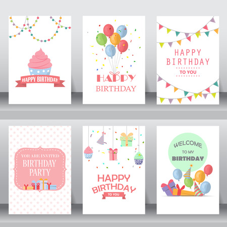 anniversaire: joyeux anniversaire, vacances, salutation de noël et une carte d'invitation. il y a des ballons, des coffrets cadeaux, confetti, cup cake. modèle de mise en page au format A4. illustration vectorielle