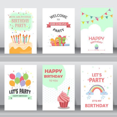 feliz cumpleaños, fiesta, saludo de Navidad y la tarjeta de invitación. hay globos, cajas de regalo, confeti, torta de la. plantilla de diseño de tamaño A4. ilustración vectorial