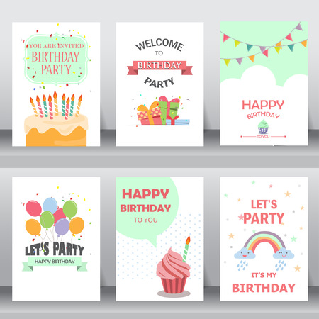 gelukkige verjaardag, vakantie, kerstmis groet en uitnodigingskaart. er zijn ballonnen, geschenkdozen, confetti, cake. layout template in A4-formaat. vector illustratie