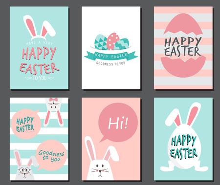Joyeuses fêtes de Pâques. Oreilles de lapin mignon avec des ?ufs et du texte logo sur fond bleu doux, peut être utilisé pour la carte de voeux, le texte peut être ajouté. modèle de mise en page au format A4. illustration vectorielle Logo