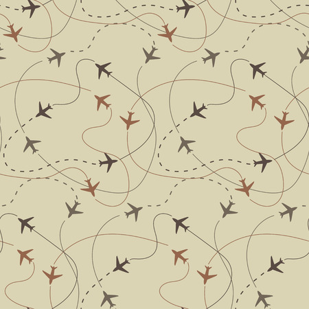 travel around the world airplane routes seamless pattern