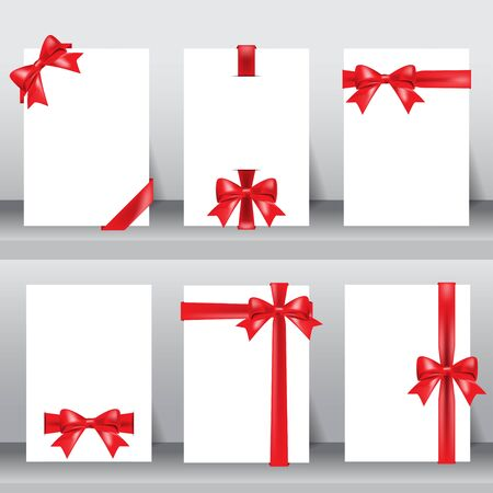 coupon: red ribbon on white background layout template in A4 size. Illustration