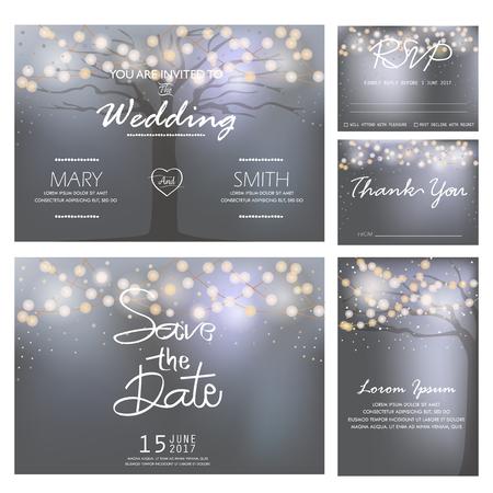 bruiloft uitnodiging, RSVP en dank u sjablonen, licht en boom concept.