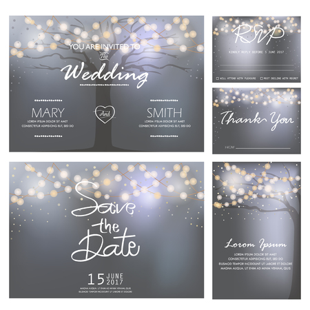 rsvp: wedding invitation, RSVP, and Thank you card  templates,light and tree concept.