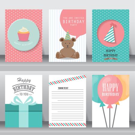 compleanno: buon compleanno, vacanze, auguri di Natale e carta di invito. Vettoriali