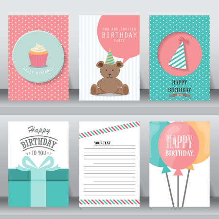birthdays: happy birthday, holiday, christmas greeting and invitation card.