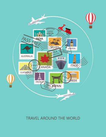 vintage banner: world travel  background.
