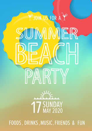 beach party: beach party poster and invitation for summer, holiday and vacation.