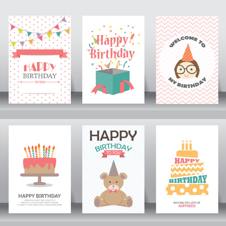 happy birthday, holiday, christmas greeting and invitation card.