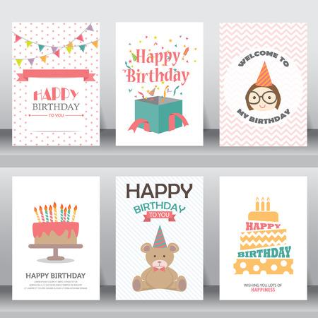 gelukkige verjaardag, vakantie, kerstmis groet en uitnodigingskaart. Vector Illustratie