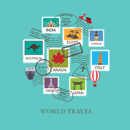 canada stamp: world travel  background.