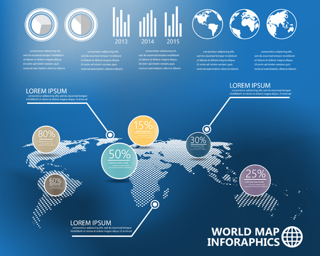 map pins: world map and  infographics elements on blur background.