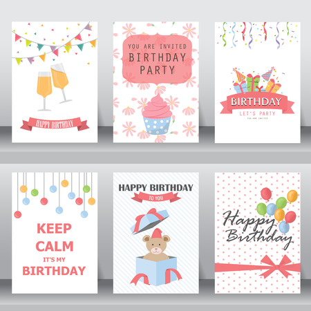 birthday decoration: happy birthday, holiday, christmas greeting and invitation card.  there are balloon, gift boxes, confetti, cup cake, teddy bear. layout template in A4 size. vector illustration