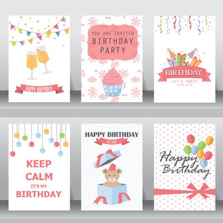 urodziny: z okazji urodzin, święto, Boże Narodzenie pozdrowienia i zaproszenie karty. istnieją balon, pudełka, konfetti, tort kubek, misia. Szablon układu w rozmiarze A4. ilustracji wektorowych
