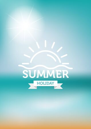 flair: summer typography on sun and beach blur background. Illustration