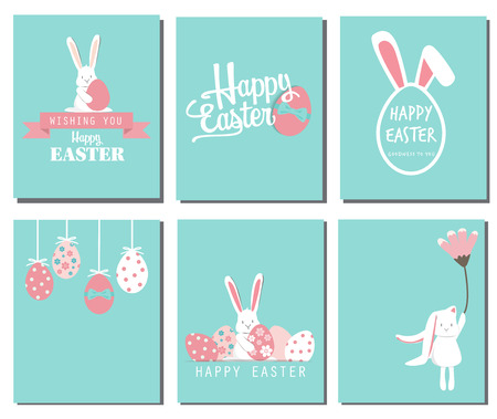 Happy easter day. cute bunny Ears with eggs and text  logo on sweet blue background, can be use for greeting card, text can be added. Çizim