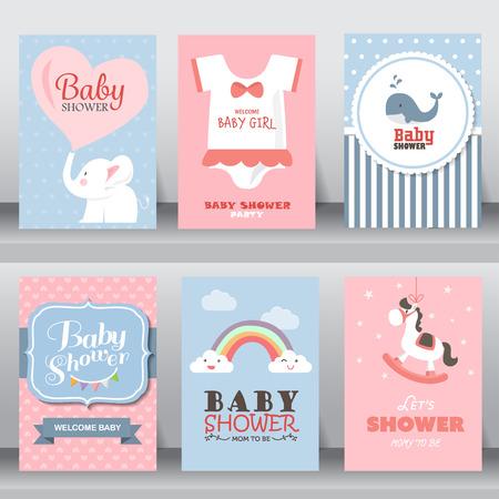 bebisar: grattis på födelsedagen, helgdag, baby shower fest hälsning och inbjudningskort. Illustration