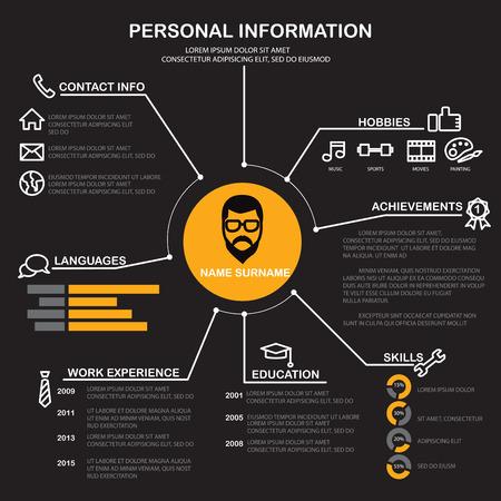 resume (cv) template infographics background and element Illustration
