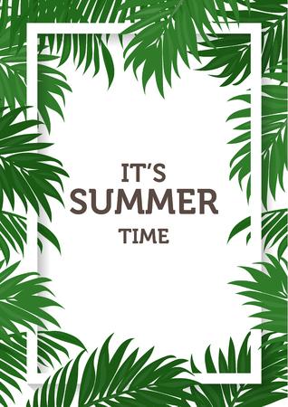 zomer achtergrond, kokos en palmbladeren en natuur concept. kan gebruiken voor de wenskaart, bruiloft uitnodiging kaart zijn, tekst kan worden toegevoegd. vector illustratie Stock Illustratie