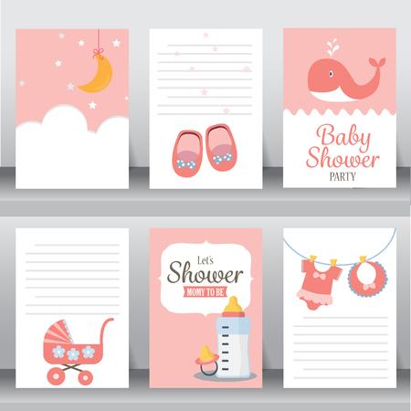 Buon compleanno, vacanza, baby shower celebrazione saluto e carta di invito. ci sono scarpe, luna, vestito. modello di layout in formato A4. illustrazione vettoriale. testo può essere aggiunto Archivio Fotografico - 53611672