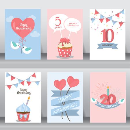 gelukkige verjaardag, vakantie, kerstmis groet en uitnodigingskaart. er zijn ballon, geschenkdozen, confetti, cake. layout template in A4-formaat. vector illustratie