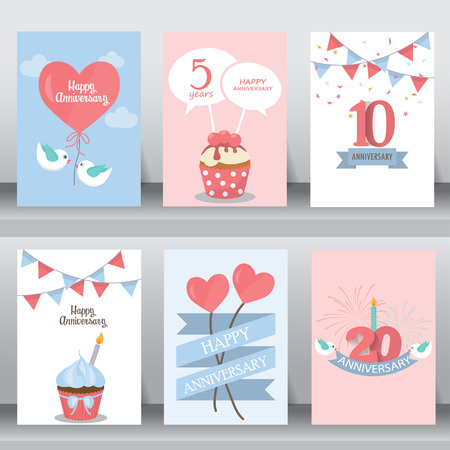 happy birthday, holiday, christmas greeting and invitation card.  there are balloon, gift boxes, confetti, cup cake. layout template in A4 size. vector illustration Иллюстрация