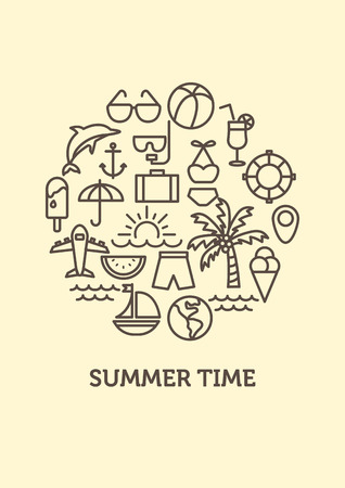 summer background. line icons concept.