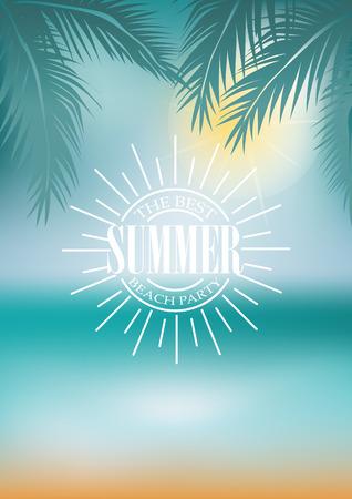 spiaggia: tipografia estate sulla spiaggia, sole e sfocatura dello sfondo. Tutto per le vacanze estive e vacanze. progettazione per A4, illustrazione vettoriale Vettoriali