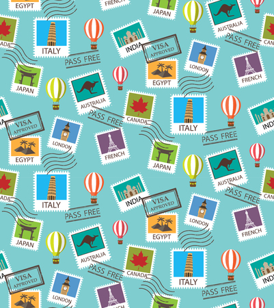 world Travel and famous tourism locations  seamless pattern