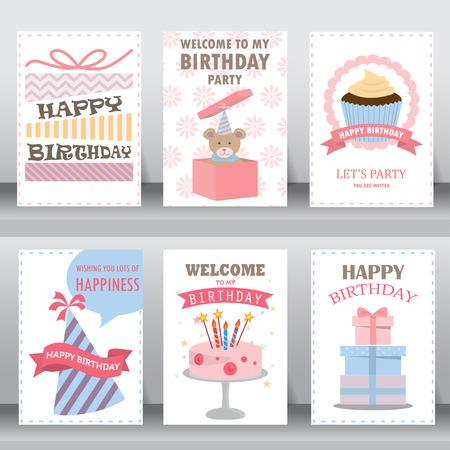 happy birthday, holiday, christmas greeting and invitation card.