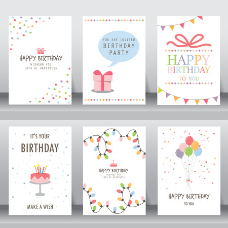 happy birthday, holiday, christmas greeting and invitation card.  there are typography, gift boxes, confetti, cake and teddy bear. layout template in A4 size. vector illustration