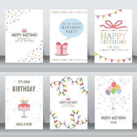 joyeux anniversaire, vacances, salutation de noël et une carte d'invitation. il y a typographie, coffrets cadeaux, des confettis, des gâteaux et ours en peluche. modèle de mise en page au format A4. illustration vectorielle Vecteurs