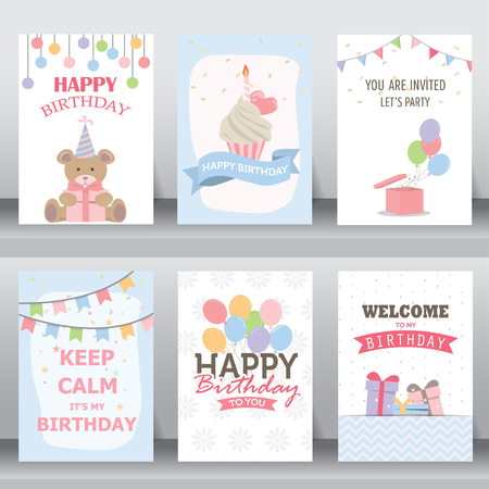 feliz: feliz cumpleaños, fiesta, saludo de Navidad y la tarjeta de invitación. hay tipografía, cajas de regalo, confeti, torta y el oso de peluche. plantilla de diseño de tamaño A4. ilustración vectorial Vectores