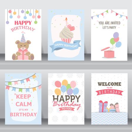 joyeux anniversaire: joyeux anniversaire, vacances, salutation de noël et une carte d'invitation. il y a typographie, coffrets cadeaux, des confettis, des gâteaux et ours en peluche. modèle de mise en page au format A4. illustration vectorielle