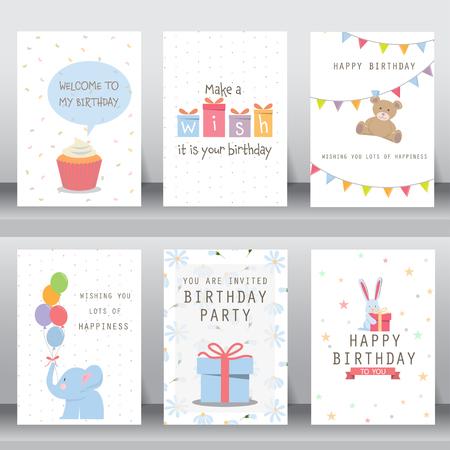 marco cumpleaños: feliz cumpleaños, fiesta, saludo de Navidad y la tarjeta de invitación. hay tipografía, cajas de regalo, confeti, torta y el oso de peluche. plantilla de diseño de tamaño A4. ilustración vectorial Vectores