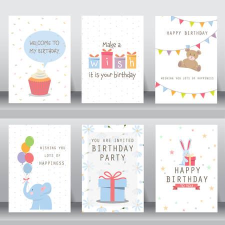 gelukkige verjaardag, vakantie, kerstmis groet en uitnodigingskaart. er zijn typografie, geschenkdozen, confetti, cake en teddybeer. layout template in A4-formaat. vector illustratie