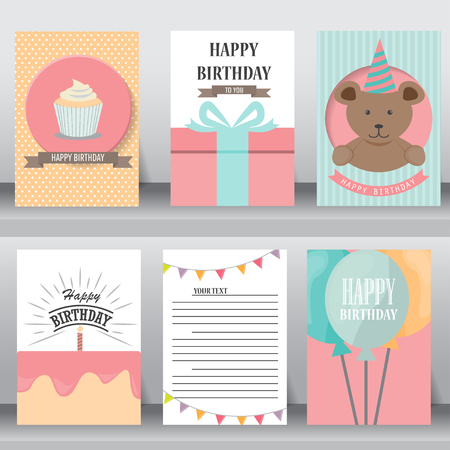 happy birthday, holiday, christmas greeting and invitation card.  there are teddy bear, gift boxes, confetti, cup cake. vector illustration Illustration