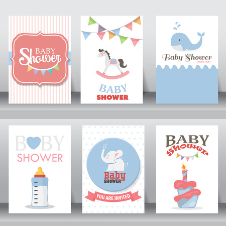 嬰兒: 生日快樂,假期,嬰兒沐浴慶祝問候和邀請卡。有鞋,月亮,禮服。在A4尺寸佈局模板。矢量插圖。文本可以被添加
