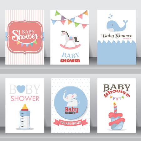 invitacion baby shower: feliz cumpleaños, fiesta de bienvenida al bebé de saludo de celebración y tarjeta de invitación. hay zapatos, luna, vestido. plantilla de diseño de tamaño A4. ilustración vectorial. texto se pueden añadir Vectores